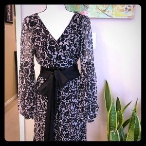 Diane Von Furstenberg black and grey silk dress